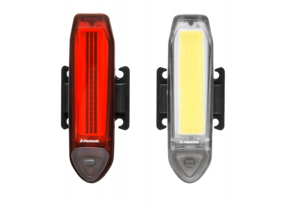 Zestaw lamp rowerowych, WHITE LINE+RED LINE, 65/20 lm