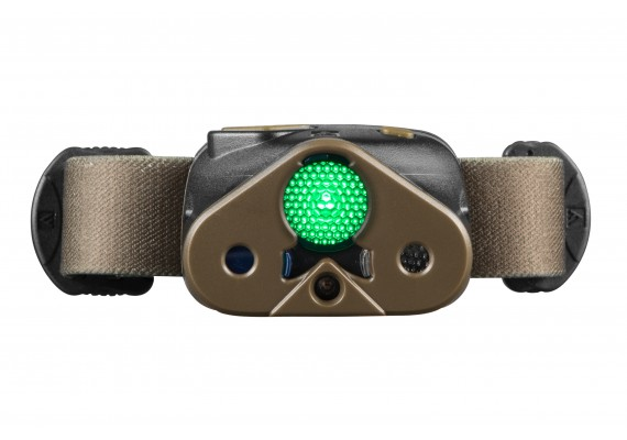 Battery headlamp featuring  an additional red diode and 3 filters and diffuser
