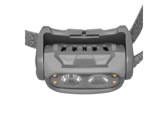 Double lens battery headlamp with spot and flood beam plus diodes PHANTOM, 500lm LED + 70 lm