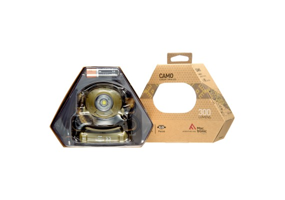 Battery headlamp featuring focus function CAMO, 300 lm