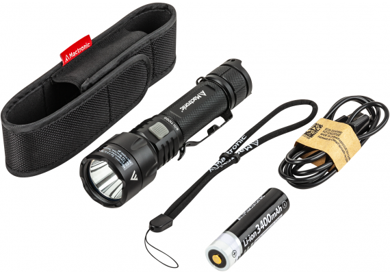 USB rechargeable tactical flashlight with powerful output BLACK EYE 1300, 1300 lm